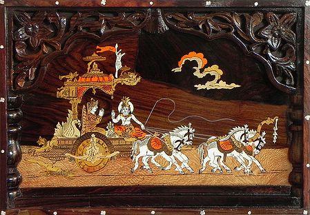 Lord Krishna Preaching Gita to Arjuna During Kurukshetra War - Inlaid Wood Wall Hanging