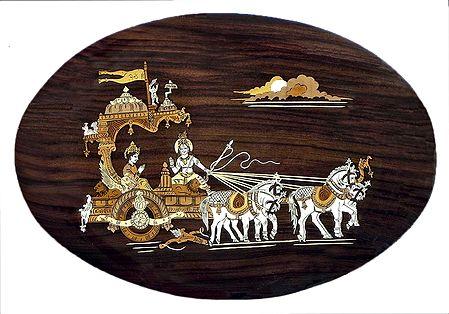 Gita Updesh - Inlaid Wood Wall Hanging