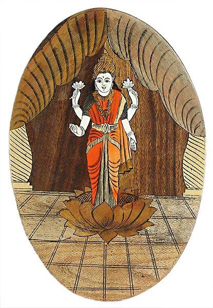 Wood Inlay of Goddess Lakshmi - Wall Hanging