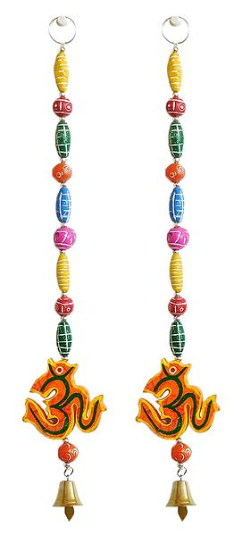 Set of 2 Hand Painted Hanging Om with Colorful Wooden Beads - Wall Hanging