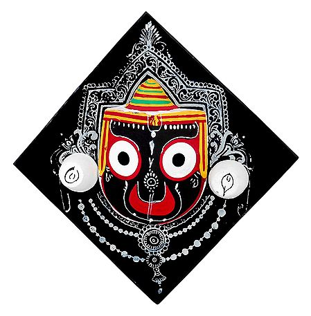 Wooden Face of Jagannath on Hardboard - Wall Hanging