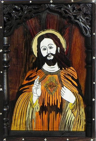 Jesus Christ - Inlaid Rosewood Wall Hanging