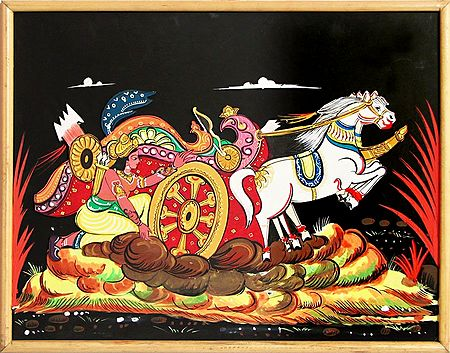 Karna Trying to Lift the Wheel of the Chariot in the Battlefield of Kurkshetra in Mahabharata - Wood Relief Work (Wall Hanging)