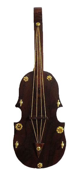 Wooden Violin with 4 Hooks Key Hanger - Wall Hanging