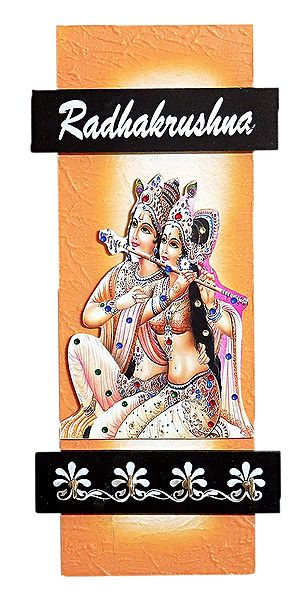 Radha Krishna Picture on Wooden Key Hanger with 4 Hooks - Wall Hanging