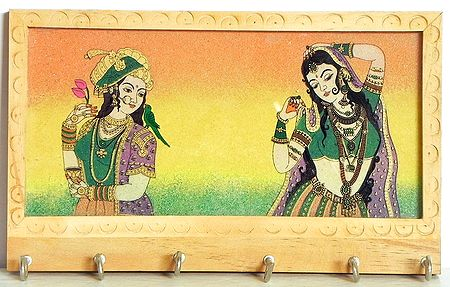 Crushed Real Gemstone Queen and Dancer Painting Wooden Key Rack with Six Hooks - Wall Hanging