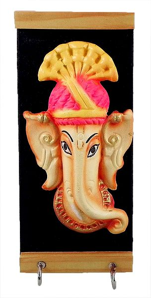 Wooden Key Rack with Two Hooks and Terracotta Ganesha Figurine - Wall Hanging