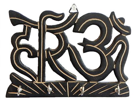 Hari Om Key Rack with Four Hooks - Wall Hanging