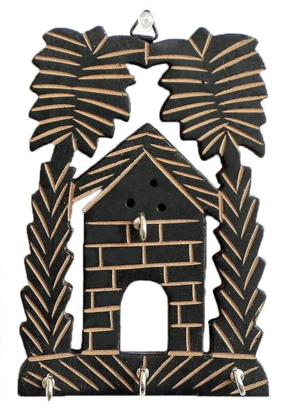 Palm Tree with House Key Rack with Four Hooks - Wall Hanging