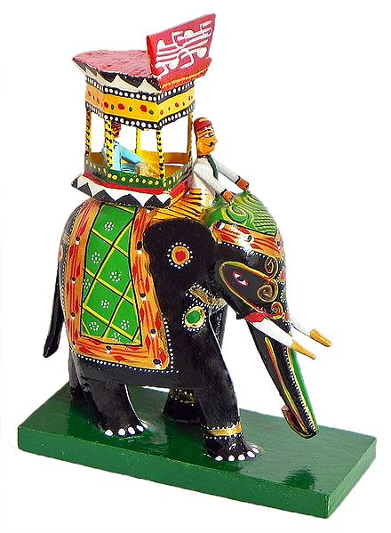 King Sitting on Royal Elephant with Mahut - Kondapalli Doll