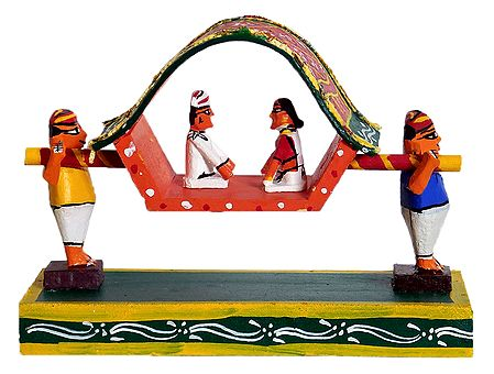 Zamindar Couple in a Palki - Kondapalli Doll