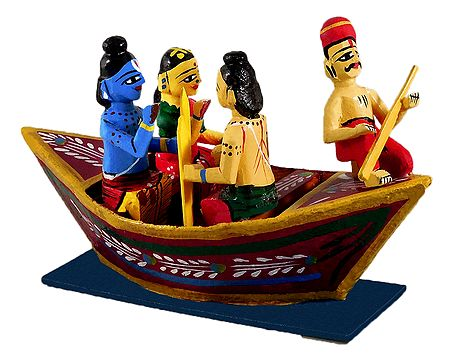 Nishad Raj Rowing Rama, Sita and Lakshmna to their Forest Abode - Kondapalli Dolls