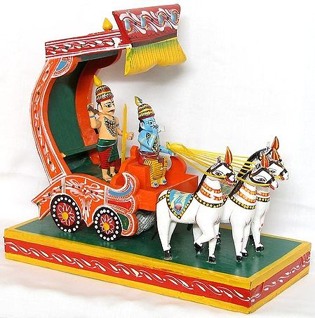 Krishna and Arjuna on a Chariot during Kurukshetra War in Mahabharata