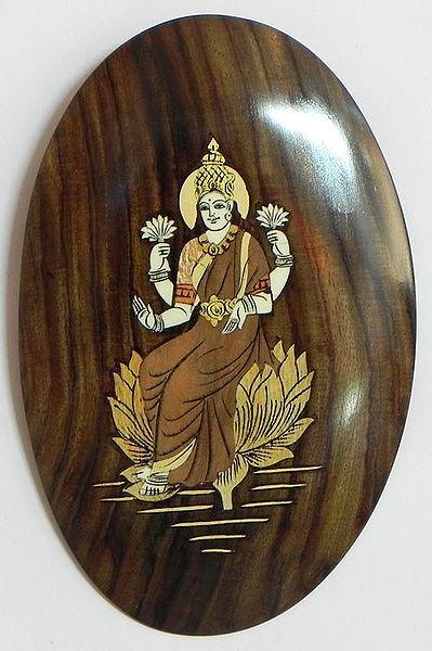 Goddess Lakshmi Inlaid Rosewood Wall Hanging