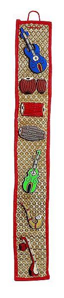 Wooden Musical Instruments on Grass Mat - Wall Hanging