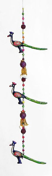 Three Colorful Wood Peacocks with Beads - Wall Hanging