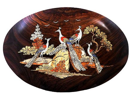 Beautiful Peacocks - Inlaid Wood Wall Hanging