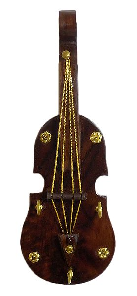 Wooden Violin with 3 Hooks Key Hanger - Wall Hanging