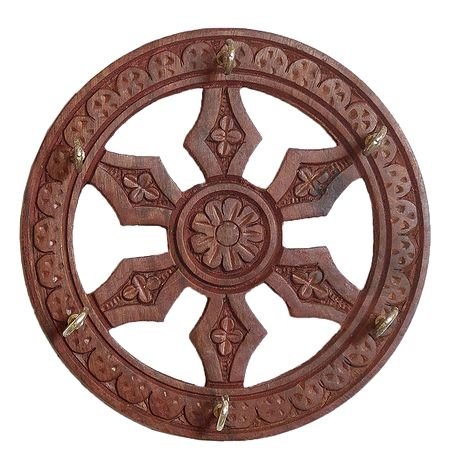 Wood Carved Wheel with 6 Hooks Key Rack - Wall Hanging