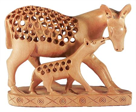 Carved Deer with Baby