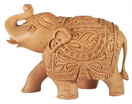 Intricately Wood Carved Elephant