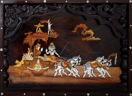 Lord Krishna Preaching Gita to Arjuna During Kurukshetra War - Wood Inlay Work