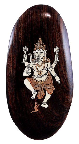 Dancing Ganesha - Inlaid Wood Wall Hanging