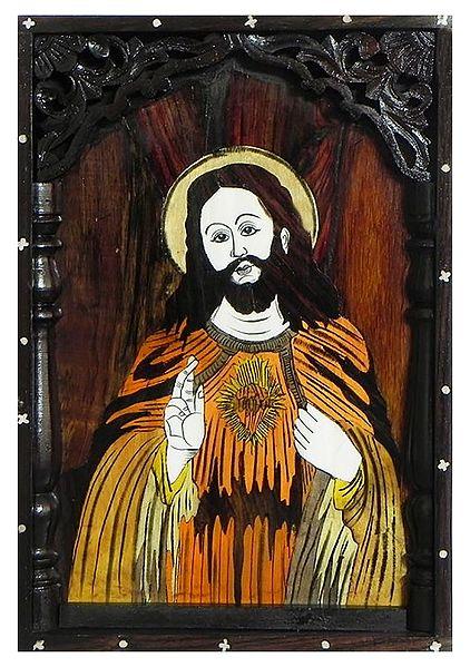 Jesus Christ - Inlaid Rosewood Wall Hanging