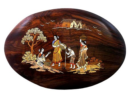 Villagers Buying Fruits - Inlaid Rosewood Wall Hanging