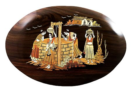 Women Near the Village Well - Inlaid Wood Wall Hanging
