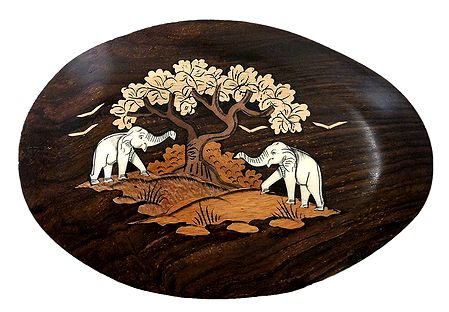 Elephants Playing under Tree - Inlaid Wood Wall Hanging
