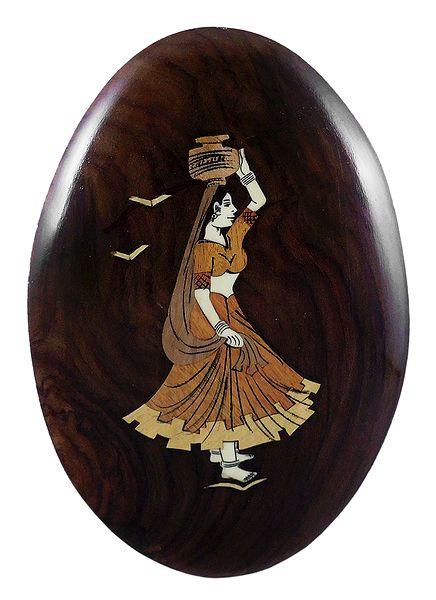 Woman with Kalash on Head - Inlaid Wood Wall Hanging
