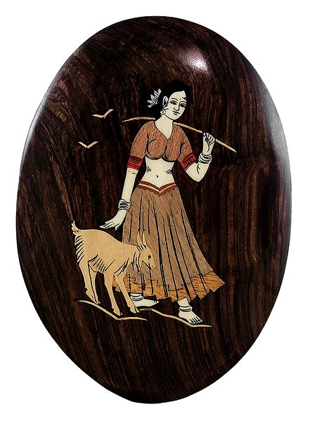 Woman with Goat - Inlaid Wood Wall Hanging