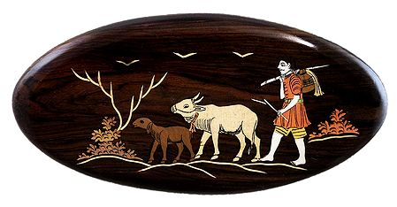Cowherd with Cow - Inlaid Wood Wall Hanging
