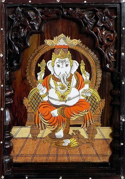 Ganesha - Inlaid Wood Wall Hanging