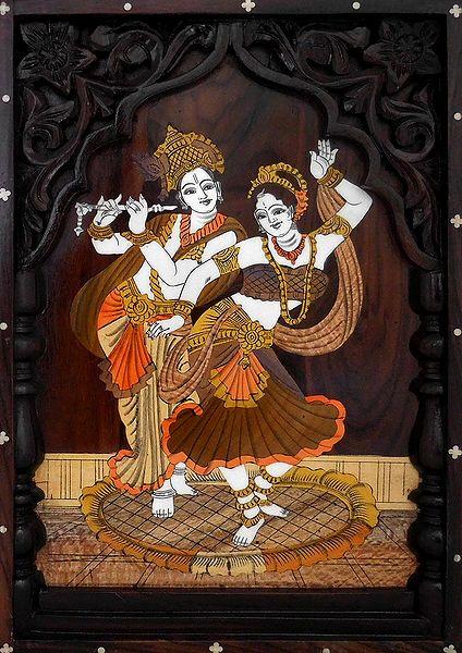 Radha Krishna in a Dancing Pose - Wood Inlay Work
