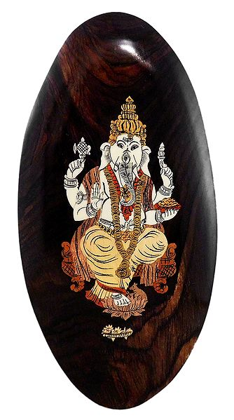 Lord Ganesha - Inlaid Wood Wall Hanging