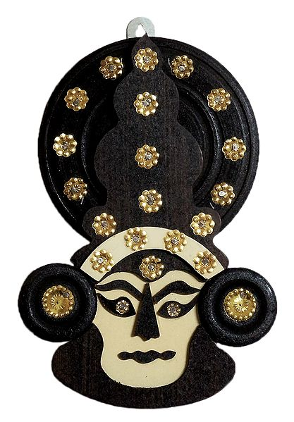 Decorated Wooden Kathakali Face - Wall Hanging