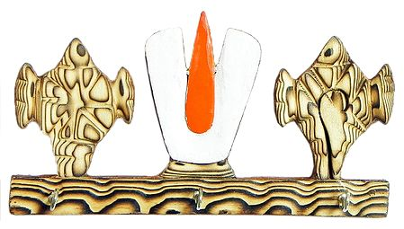 Conch and Tilak Shaped Key Rack with Three Hooks - Wall Hanging