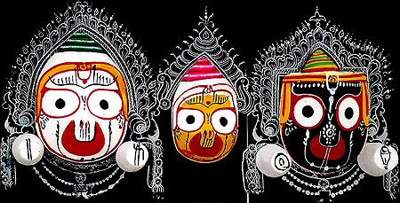 Wooden Faces of Jagannath, Balaram and Subhadra - Wall Hanging