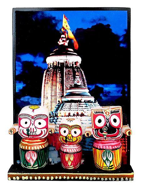 Jagannath, Balaram, Subhadra in Front of Puri Temple - Wall Hanging