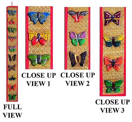 Wooden Butterflies on Grass Mat - Wall Hanging