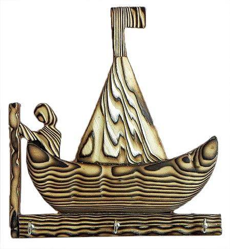 Boat Shaped Key Rack with Three Hooks - Wall Hanging
