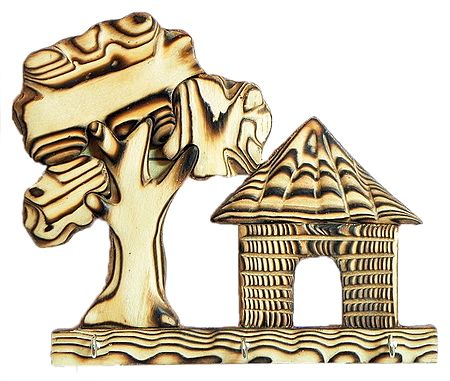 Hut and Tree Shaped Wooden Key Rack with Three Hooks - Wall Hanging