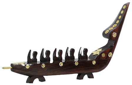 Snake Boat with Men Rowing