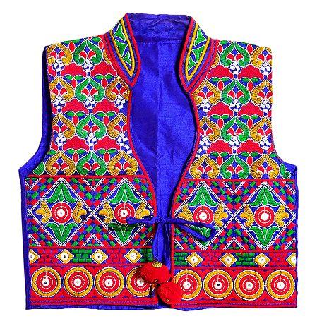 Multicolor Katchi Embroidery on Ladies Koti Jacket