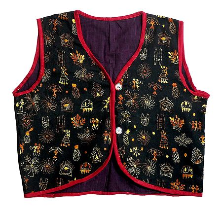 Kantha Stitch on Black Sleeveless Ladies Waistcoat Jacket