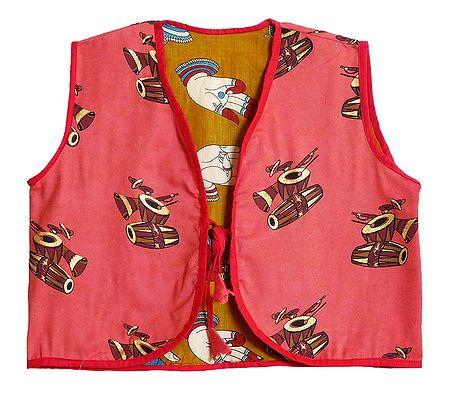 Block Print on Dark Peach Sleeveless Ladies Reversible Waistcoat Jacket