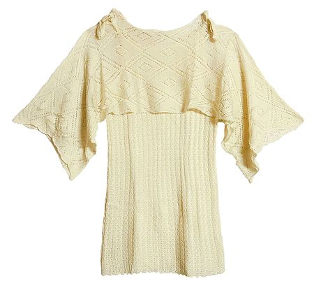 Light Cream Designer Ladies Woolen Sweater