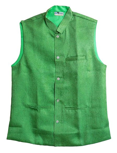 Mens Green Sleeveless Jacket